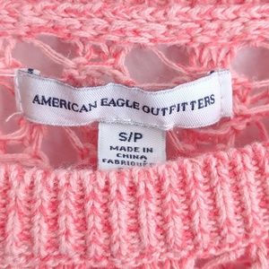 American Eagle Outfitters Sweaters - AEO Coral/Pink Crochet/Knit Scoop Neck Sweater